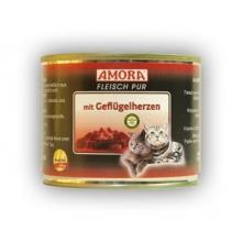 Amora kassikonserv loomaliha ja kanasüdamega, 12x200 gr. 100% liha!